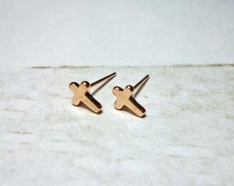 Mini Rose Gold Cross Stud Earrings, Dainty Cross Earrings