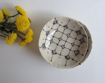 Handmade ceramic low bowl. Dipping sauce dish.  Small bowl. Black and white