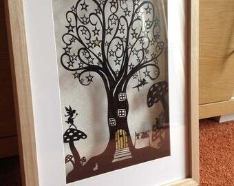 Commerical use Fairy tree paper cut template