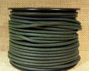 25% Off 3mm Round Mediterranean Leather - Green - 3M-MED-39 - Choose Your Length