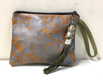 Leather wristlet, leather pouch, floral print