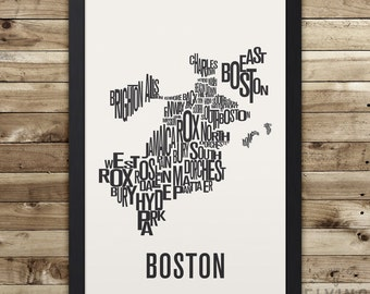 BOSTON Neighborhood Typography City Map Print