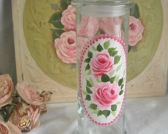 Hand Painted Roses Glass Vanity Jar, Cottage Chic And Shabby