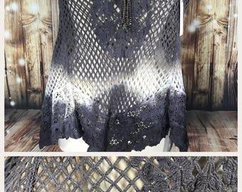 Cotton Crochet, Size Medium dip dyed shawl