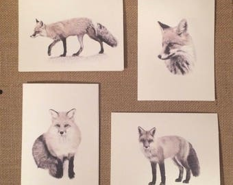 Set of 12 Handmade Blank Red Fox Print Note Cards