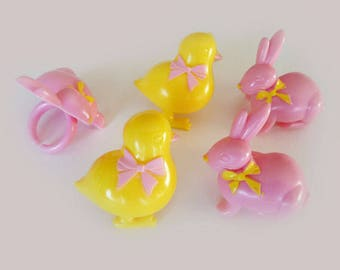 Easter Bunny and Chick Cupcake Rings Cake Toppers Decorations Rabbit Holiday