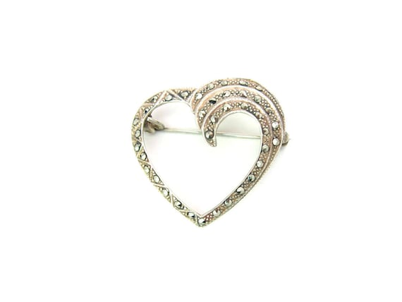 Vintage Marcasite Heart Brooch. Swirled Sterling Silver 925 Art Deco Style