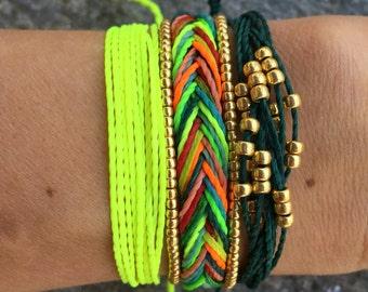 Set of 3 string bracelets, stackable bracelet, wax string bracelet, beaded bracelet, surfer bracelet - Neon Rainbow
