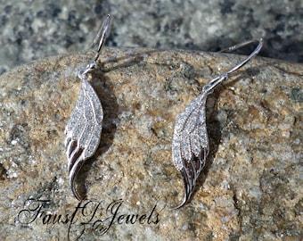 Sterling Silver Wings CZ Earrings