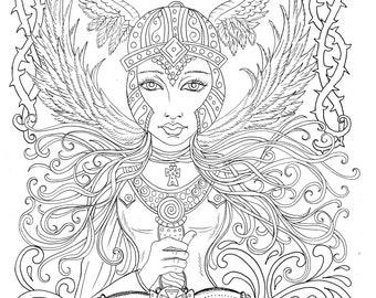 Warrior Angel Coloring page Adult Christian Color Scripture/church/bible/digital/digi/heaven
