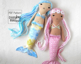 """NEW 14"""" Mermaid Doll Sewing Pattern and Tutorial - magical - rag doll - cloth - fabric - play - child - gift"""