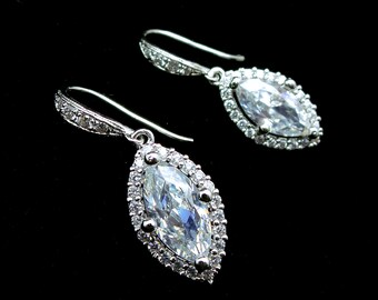 bridal jewelry wedding earrings bridesmaid prom party christmas micropave gift sterling silver hook with marquise cubic zirconia drop