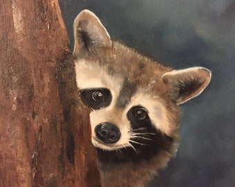Racoon Oil Painting