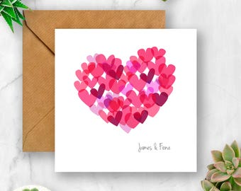 Personalised Multi Heart Card, Wedding Card. Anniversary Card, Valentine's Card, Engagement Card, Card for Wedding