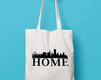 City Skyline - Home - Tote Bag - Canvas Tote Bag - Customizable - Tote bag canvas - City - USA - American city - Skyline - Gift under 15