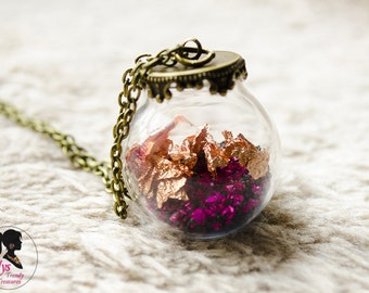Antique Glass Globe Necklace Precious, Gold leaf, Beads Necklace