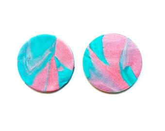 Clay Earrings | Pink Earrings | Blue Earrings | Circle Earrings | Minimalist Earrings | Statement Earrings | Large Earrings | Boho Earrings
