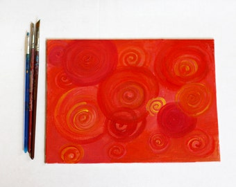 Red circles and spirals acrylic painting