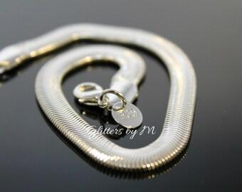 8mm Silver Plated Flat Snake Bone Bracelet