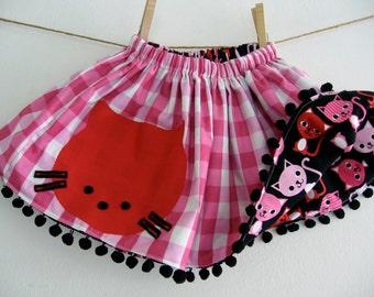 CHILDRENS REVERSIBLE SKIRT- Red Kitty Cat Twirly Reversible Skirt- Kitty Skirt