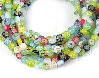 6mm Millefiori Glass Assorted Coin Tiny Beads Full 16 inches strand (e4876)