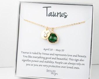 Zodiaque taureau collier en or, Taureau mai collier, mai anniversaire bijoux, collier du zodiaque, astrologie collier en or