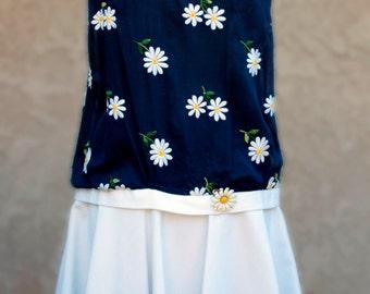 Reduced 60% Flower Power Dress Daisy Embroidered Voille/ White Pique Skirt  Item # 614 Summer Dress