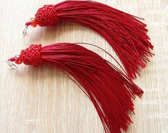 Red Tassel Earrings Satin/Silk Earrings Long Boho Tassel Earrings Bohemian Earrings Cherry Red Earrings Jewelry Gift fo her Ready to ship