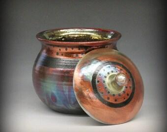 Raku Urn or Large Lidded Pot in Metallic Iridescent Colors