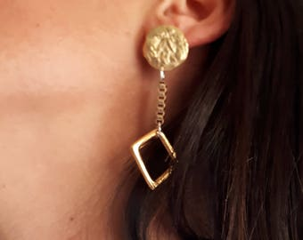 Gold pendant earrings. Created by LeBoncine by Alessandrabonci.