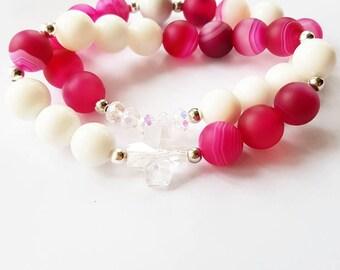 Beaded gemstone bracelet with swarovski element