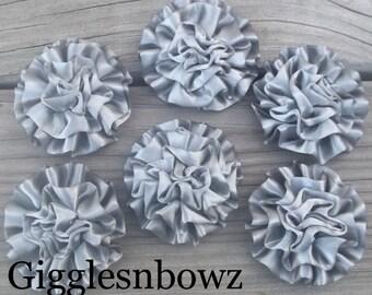 Dark Gray Satin Rosettes Puff Flowers- 6pc Satin Rolled Rosettes- Headband Supplies- Diy Supplies- Flowers for Hair- Wedding Supplies