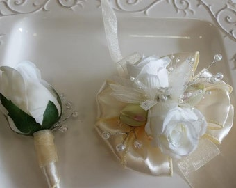Prom Corsage Set Light Golden Champagne and Ivory Wrist Corsage With Matching Boutonniere  Wedding or Prom Corsage Set ON SALE