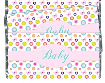 Butterfly Baby Shower Candy Wrappers, Butterfly Chocolate Bar Candy Wrappers - baby shower, pink owls