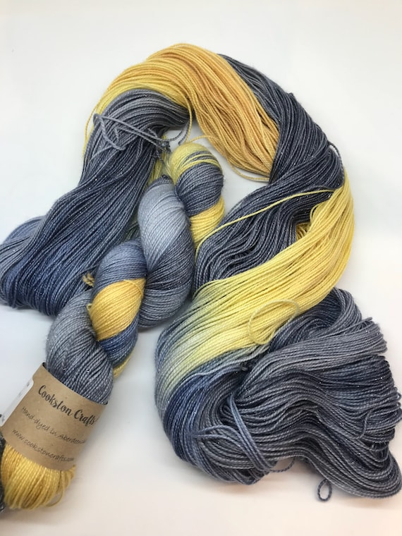 Grellow - 100g Superwash Merino / Nylon / Silver Stellina Sparkle Sock Yarn 4 ply, fingering, hand dyed, grey, mustard yellow