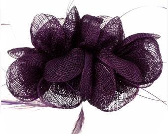 Mulberry, plum, purple, Fascinator, hat, Fascinators, Fascinator hat, wedding, ascot, races, derby, hair accessory, headband, comb, feather