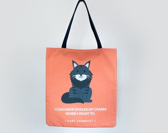 Kurt the Maine Coon Tote Bag - Named after Kurt Vonnegut - With Quote