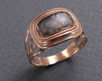 14K  Gold & Labradorite ring c 1850s  size 8.25