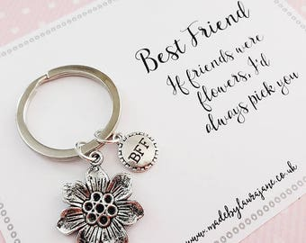 Best friend quote charm keyring gift - BFF