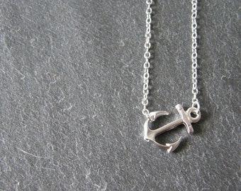 Silver Anchor Necklace, Nautical Charm, Sailor, Nautical Jewelry, Simple, Modern, Minimalist, Gift for Her