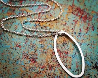 Silver Oval Necklace, Minimalist Jewelry, Layering Necklace, Layered and Long, Geometric, Minimal Necklace, Modern Jewelry, Boho