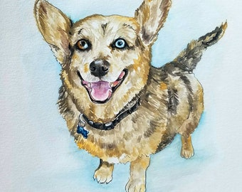 Custom Pet Painting/Portrait on Paper, Hand-painted-- Perfect Gift for all Animal Lovers!
