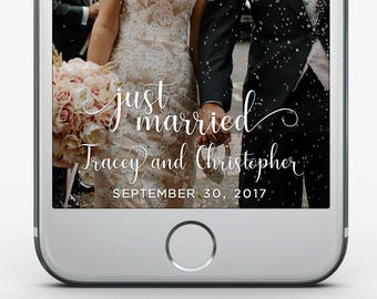 Custom Snapchat Filter, Wedding Geofilter, White Wedding Snapchat Filter, Just Married Snapchat Filter, Elegant Wedding Filter V2