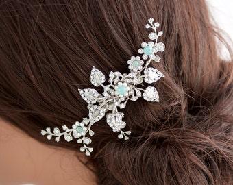 Wedding Hair Comb Wedding Hair Piece Vine Leaves and Crystal Flowers  Pacific Opal Sapphire Blue  HARLOW VINE