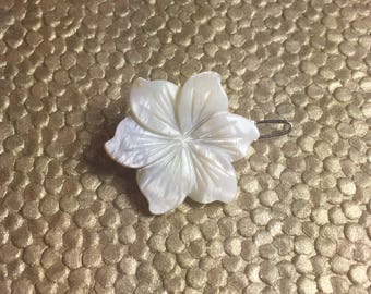 White Peruvian Lily Mother of Pearl Flower Barrette