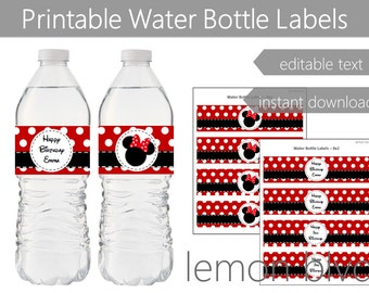 Minnie Mouse Party Bottle Labels | Instant Digital Download | Editable Text | Minnie Red Polka Dots Party Water Bottle Labels