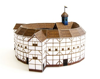 Globe Theatre,  assembled paper model of Shakespeare's famous theatre, full color, 20 cm or 8 inches in diameter