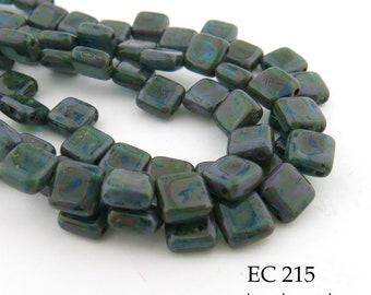 6mm 2 Hole Czech Glass Picasso Sea Green Square Tile Bead (EC 215) 25 pcs BlueEchoBeads