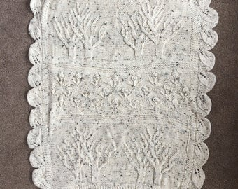 Hand Knitted Tree of Life Throw, Cot Cover, Baby blanket, Heirloom