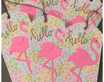 Handmade Pink Flamingo All Occasion Gift Tags Hello Tropical Leaves Foliage Sky Blue Grass Green Citrus Orange set of 6